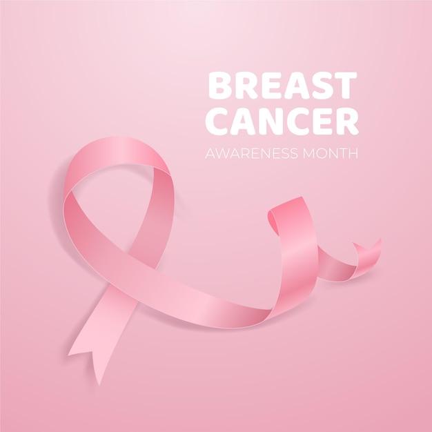 Осведомленность о раке с реалистичной розовой лентой Premium векторы