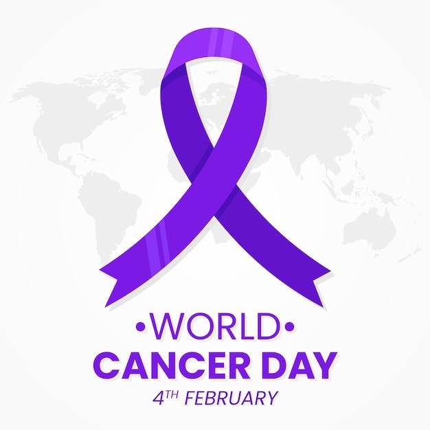 День рака фиолетовая лента на карте мира Бесплатные векторы