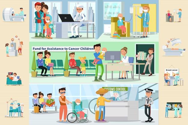 Brochure orizzontali sulla malattia del cancro Vettore gratuito