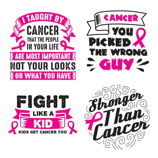 Cancer quote and saying set Premium Vector