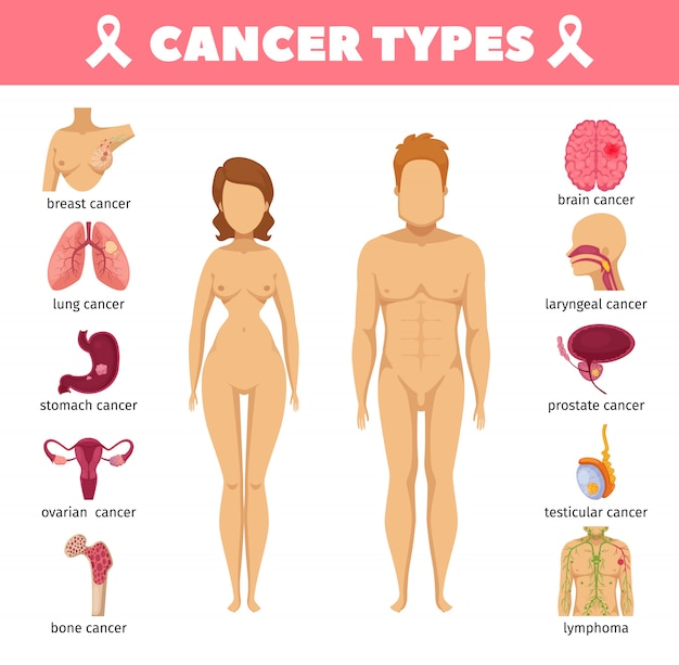 Cancer types flat icons Free Vector