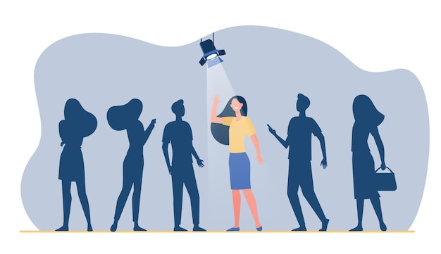 Candidate winning competition for job. woman under spotlight, group in shade. cartoon illustration Free Vector