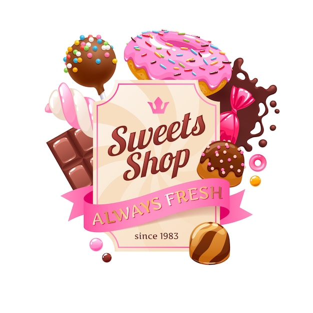 Candies and sweets colorful background. Premium Vector