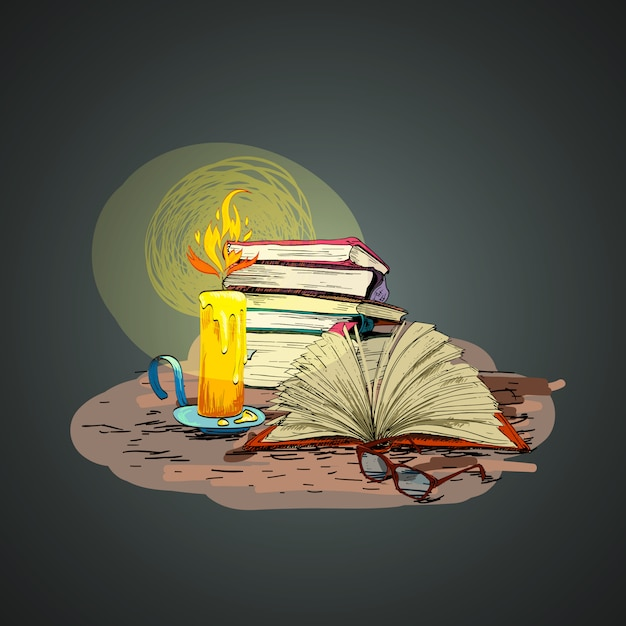 Candle book hand drawing illustration Free Vector