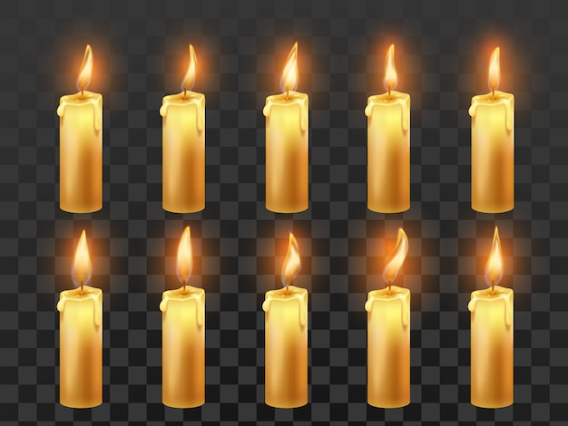Candle fire animation. burning orange wax candles with flame isolated realistic set Premium Vector
