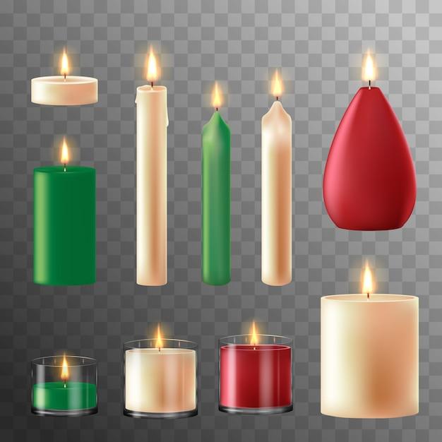 Свеча огонь. восковые свечи для рождественской вечеринки, романтические горячие свечи пламени. иллюстрация Premium векторы