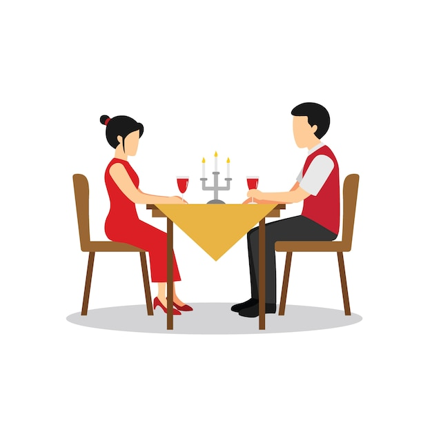 Premium Vector Candle Light Dinner Character