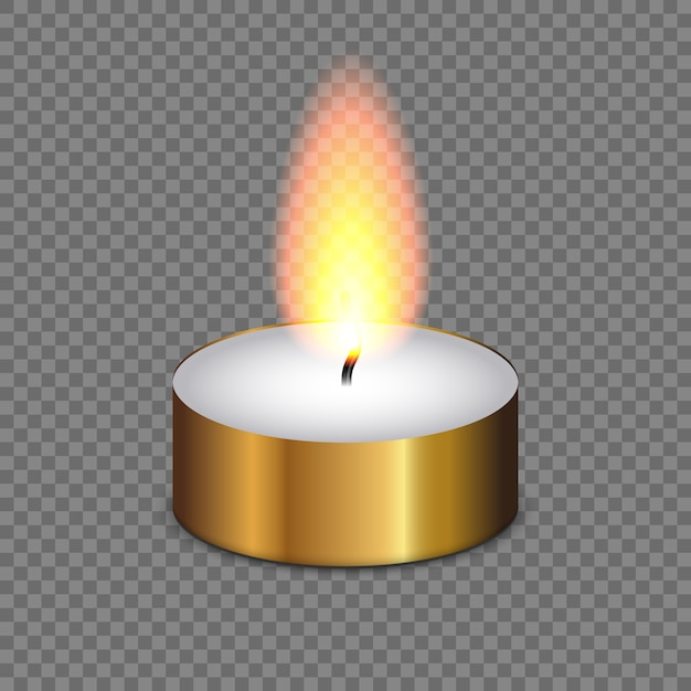 Candle light flame isolated on transparent background Premium Vector