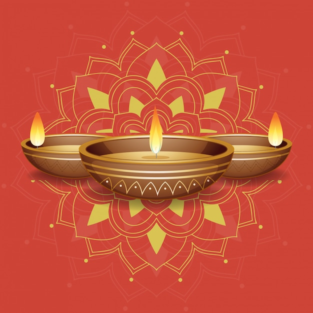 Candle lights on red mandala Free Vector
