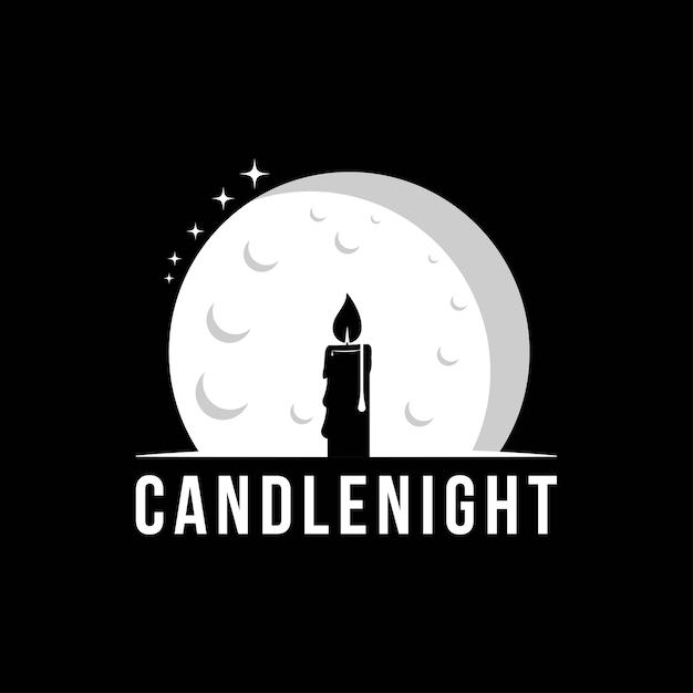 Шаблон дизайна логотипа ночь свечи. Premium векторы