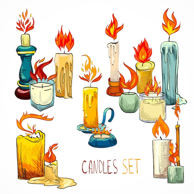 Candle set drawing Free Vector