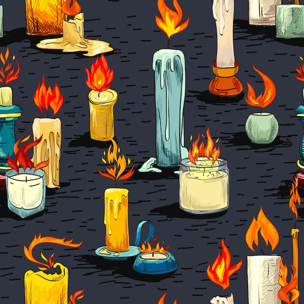 Candle sketch seamless pattern Free Vector