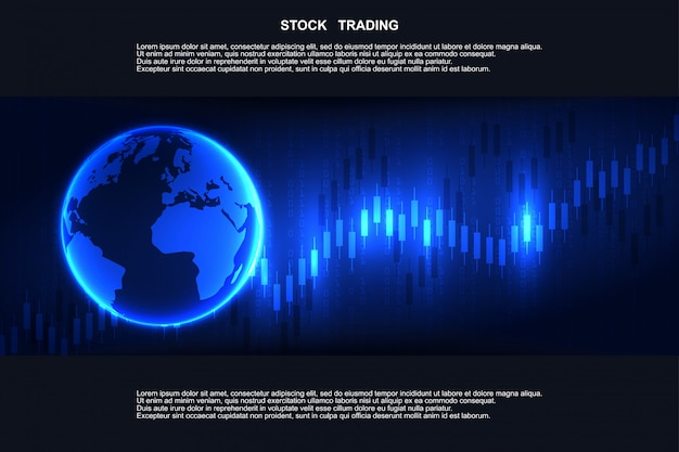 金融市場、外国為替取引のキャンドルスティックグラフチャート。証券取引所市場、投資、金融、取引。取引プラットフォーム Premiumベクター