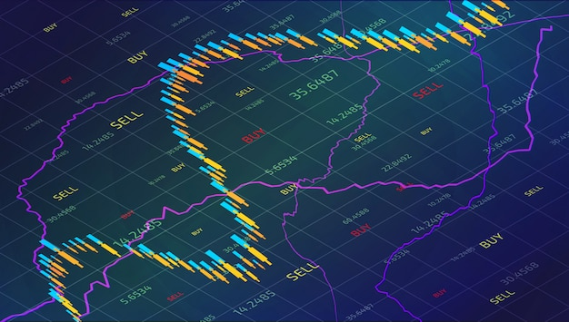 Candle stick stock market tracking graph. forex trading in isometric for financial investm Premium Vector