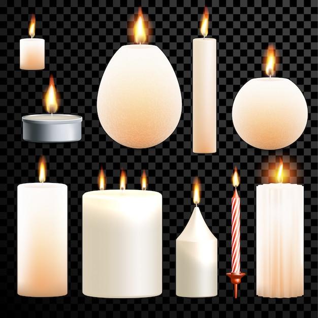 Candles 3d realistic set flame burning transparent background Premium Vector