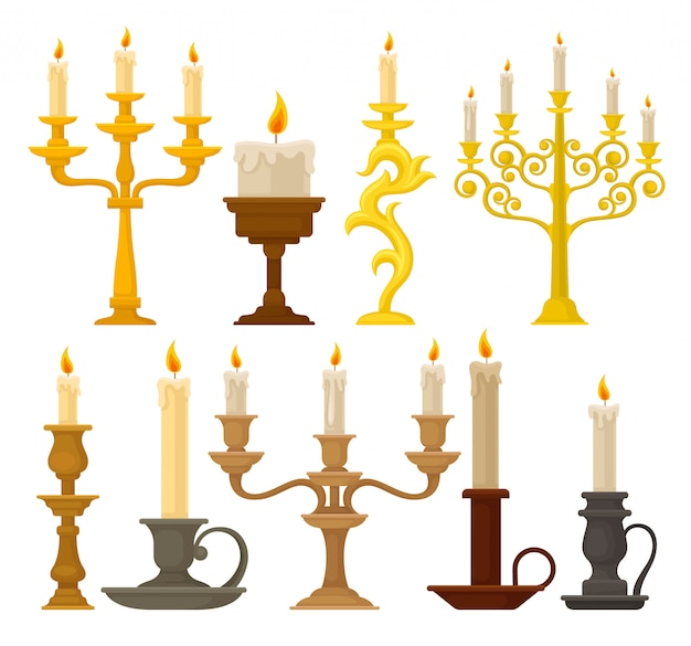 Candles in candlesticks set, vintage candle holders and candelabrums  illustration on a white background Premium Vector
