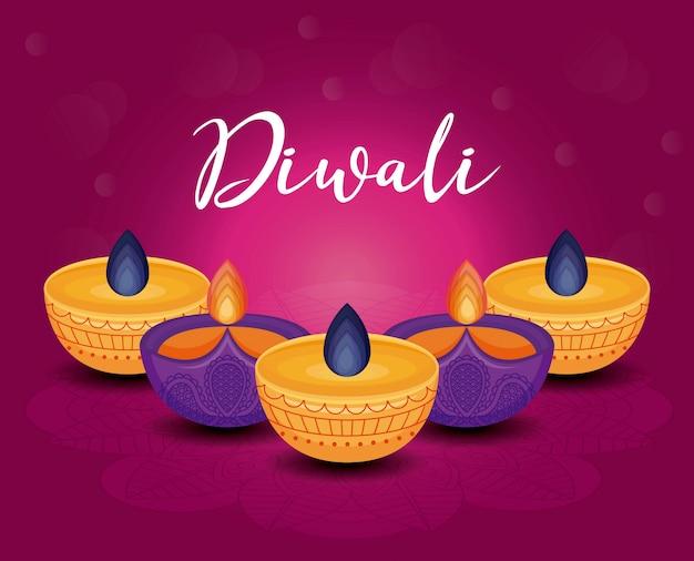 Candles diwali festival Free Vector