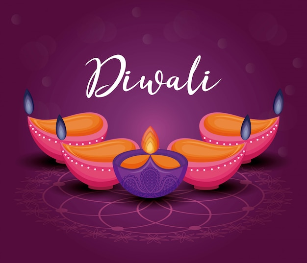 Candles diwali festival Free Vector