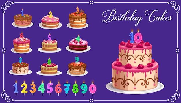 1から10の孤立したアイコンの年齢番号を持つバースデーケーキのキャンドル。お誕生日おめでとう子パーティーのお祝い。カップケーキと火の光、記念日のキャンドルライトとカラフルなキャンドルの数字 Premiumベクター