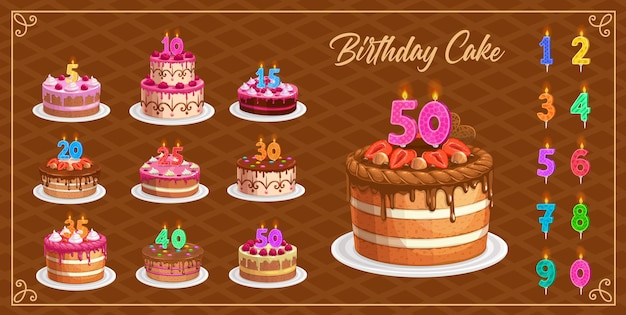 1から10の孤立したアイコンの年齢番号を持つバースデーケーキのキャンドル。お誕生日おめでとう、パーティーのお祝い。カップケーキと火の光、記念キャンドルライトが設定されたカラフルなキャンドルの数字 Premiumベクター