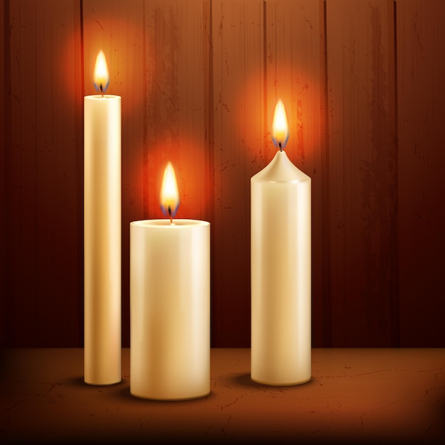 Candles realistic background Free Vector