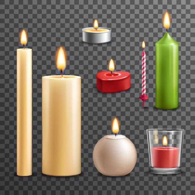 Set trasparente di candele Vettore gratuito