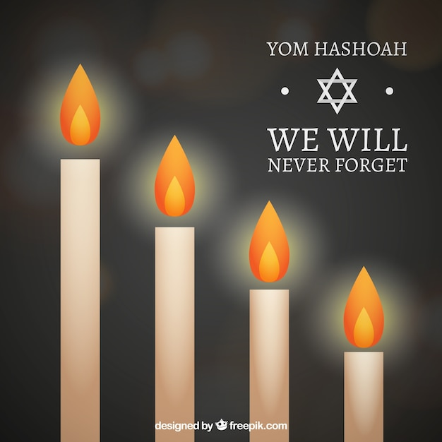 Candles yhom hashoah Free Vector