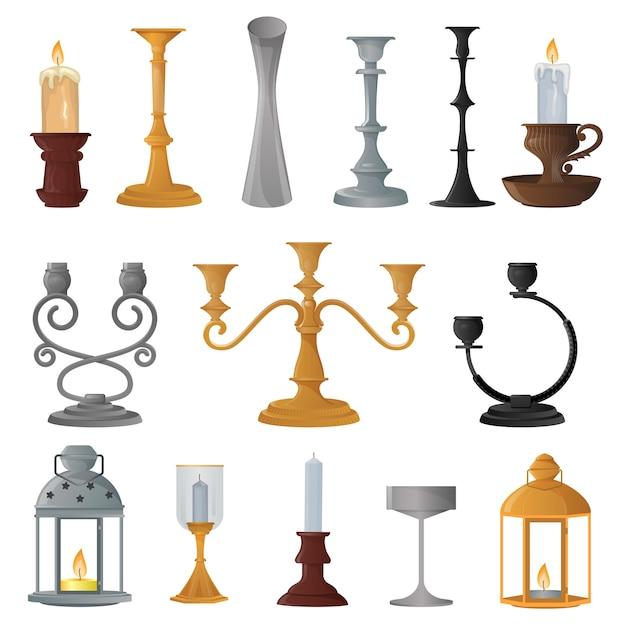 Candlestick candle lantern set Premium Vector