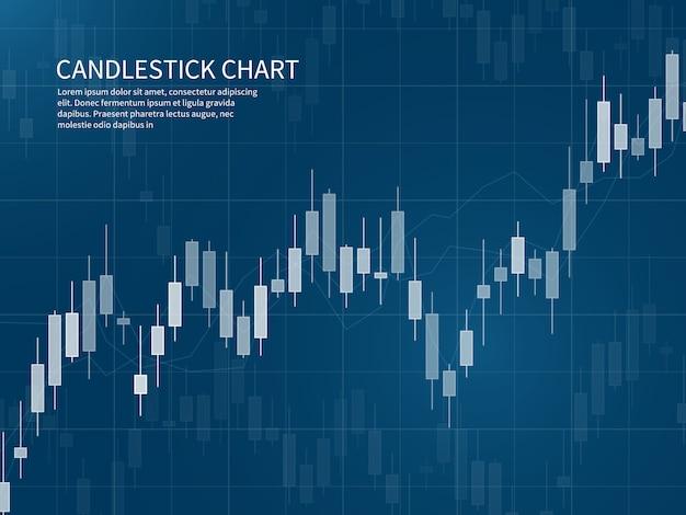 ローソク足チャート。金融市場の成長グラフ。外国為替取引と株式投資のビジネスコンセプト Premiumベクター