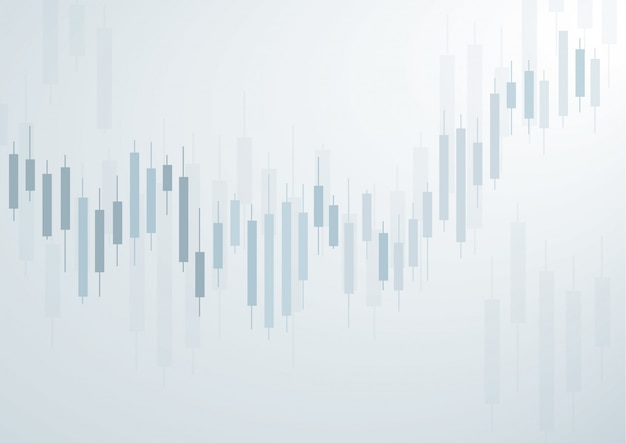 Candlestick stock exchange blue background Premium Vector