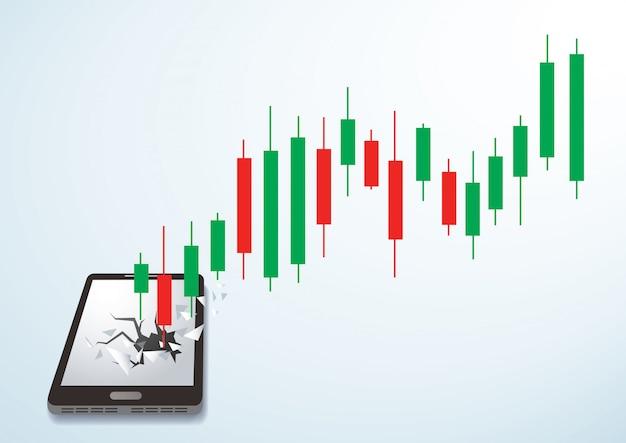 Candlestick stock exchange breakthrough smartphone Premium Vector