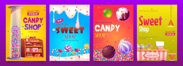Рекламные баннеры магазина сладостей и сладостей, набор различных кондитерских изделий Бесплатные векторы