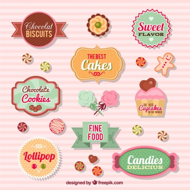 Candy badges collection Free Vector