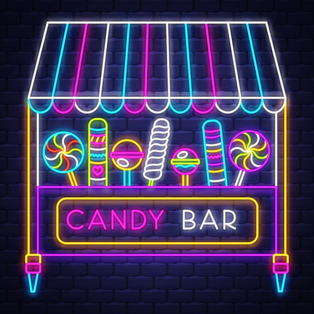 Candy bar - neon sign vector. candy bar - neon sign on brick wall background Premium Vector