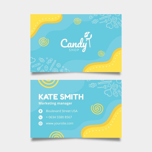 Candy business card template Free Vector