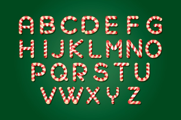Candy cane christmas alphabet pack Free Vector