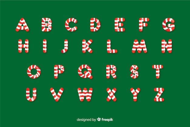 Candy cane christmas alphabet Free Vector