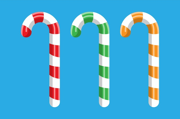 Candy cane. christmas candy. lollipop stick sweetness candycane. happy new year decoration. merry christmas holiday. new year and xmas celebration. Premium Vector