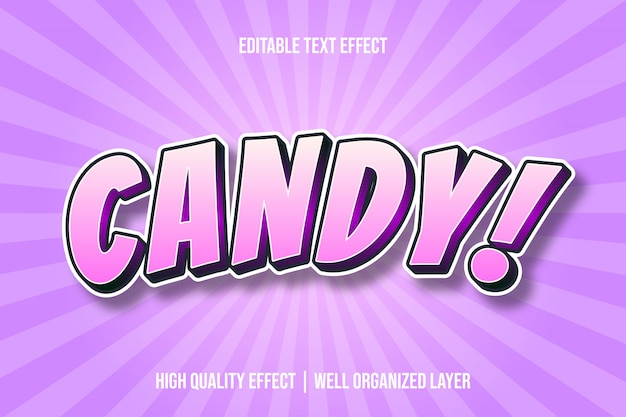 Candy! cartoon comic style text effect Premium Vector