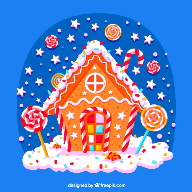 candy christmas house background free vector - Candy Christmas
