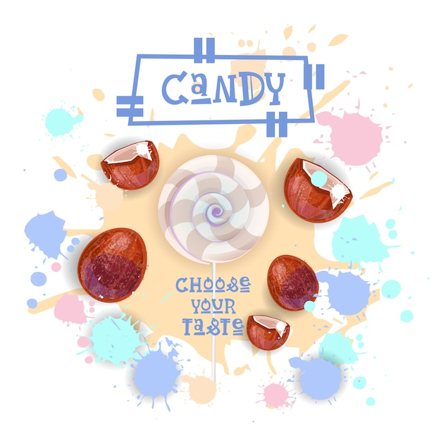 Candy coconut lolly dessert colorful icon choose your taste cafe poster Premium Vector