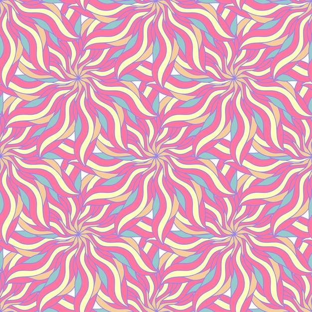 Candy colors of seamless pattern with abstract flower. endless background. vector backdrop. summer seamless template. Premium Vector