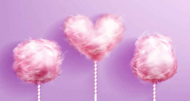 Candy cotton heart shaped on pink striped stick Free Vector