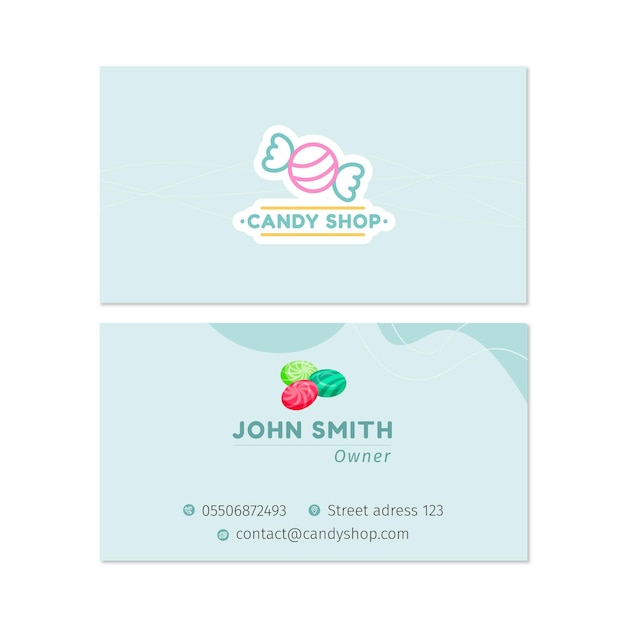 Candy double-sided businesscard h Free Vector