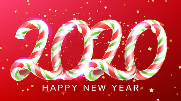 Candy in form 2020 happy new year banner Premium Vector