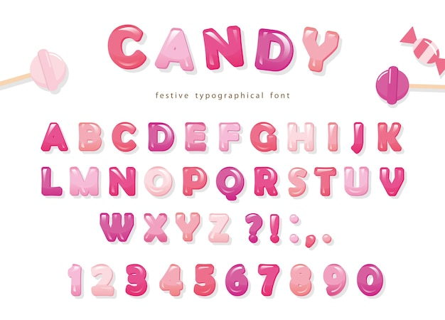 Candy glossy font design. Premium Vector