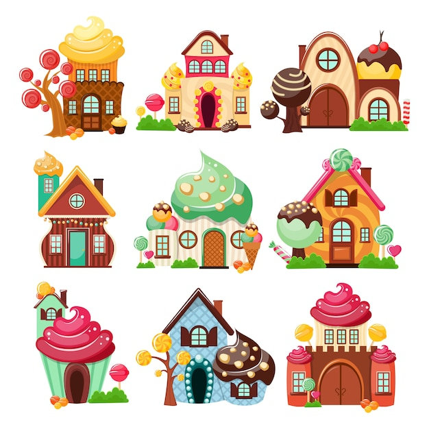 Candy houses icon set Free Vector