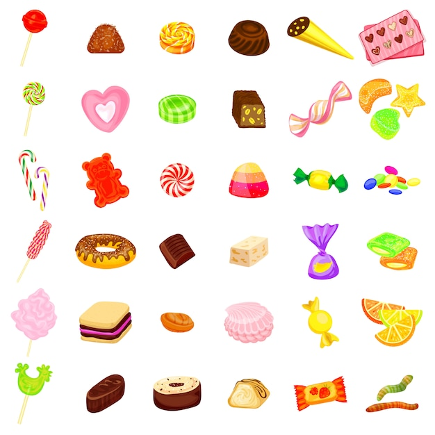Candy icon set Premium Vector
