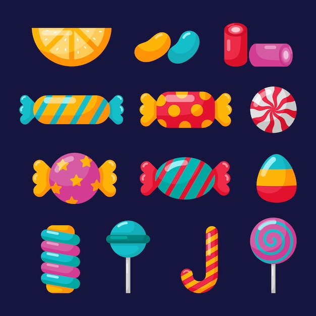 Candy icons set with different types isolated on blue Premium Vector