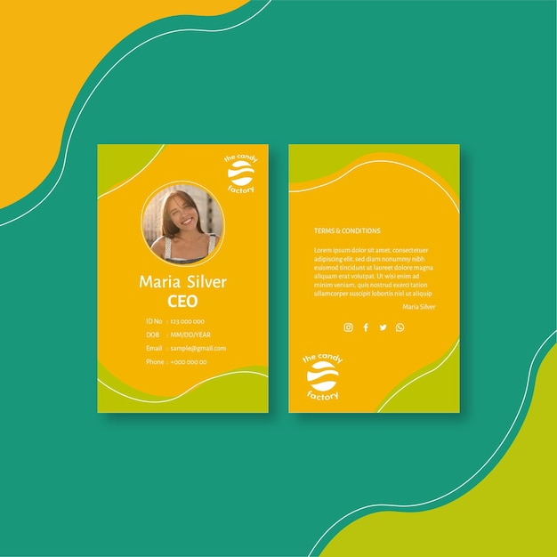 Candy id card template Premium Vector